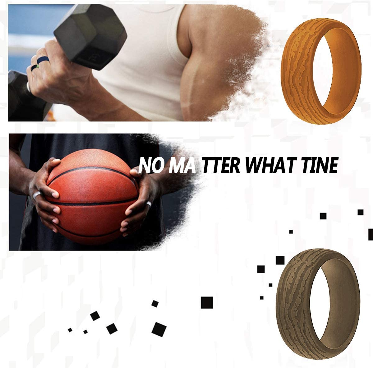 LISNOZA Silicone Wedding Ring Band for Men Silicone Rubber Wedding Bands Stackable Multiple Colors Comfortable Affordable Fashion Bark Texture Design Fit Skin Safe