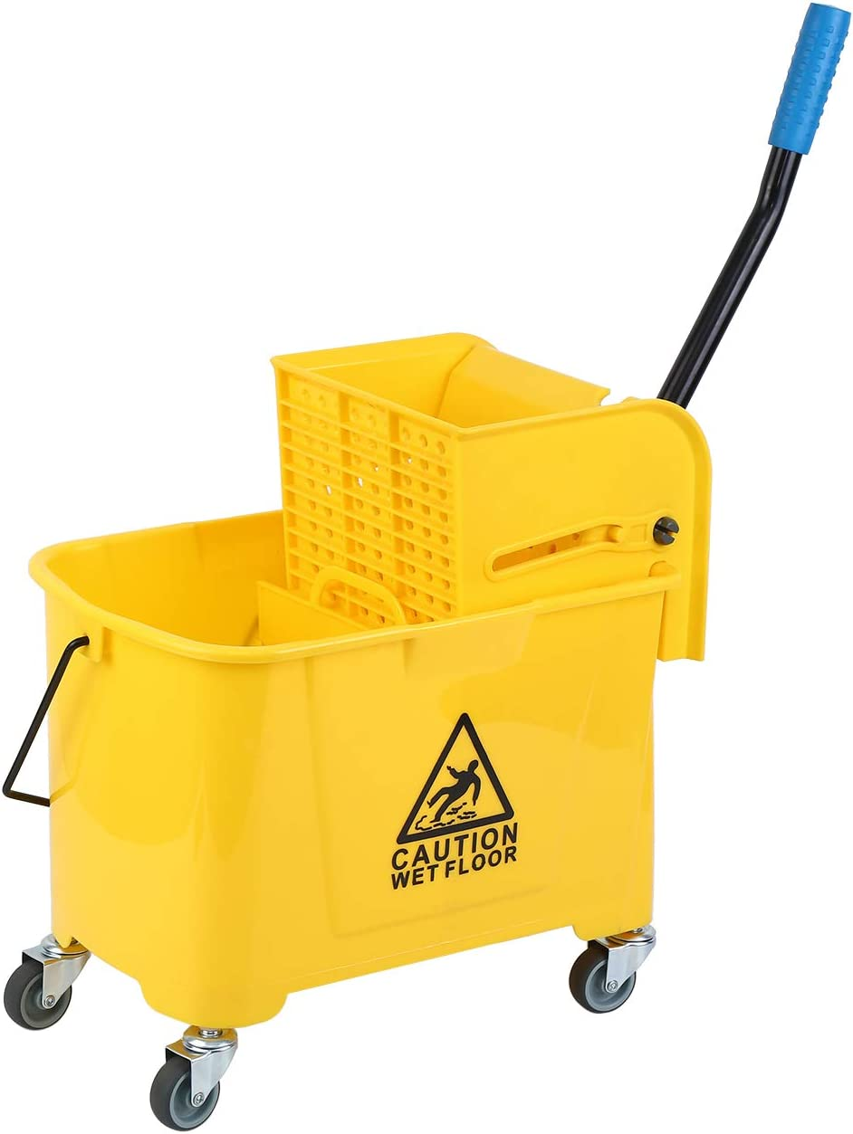 Amarillo Samger 20L Cubos de Fregar el Plastico Cubeta de Trapeador con Prensa y 4 Ruedas para Uso Dom/éstico de Limpieza Comercial