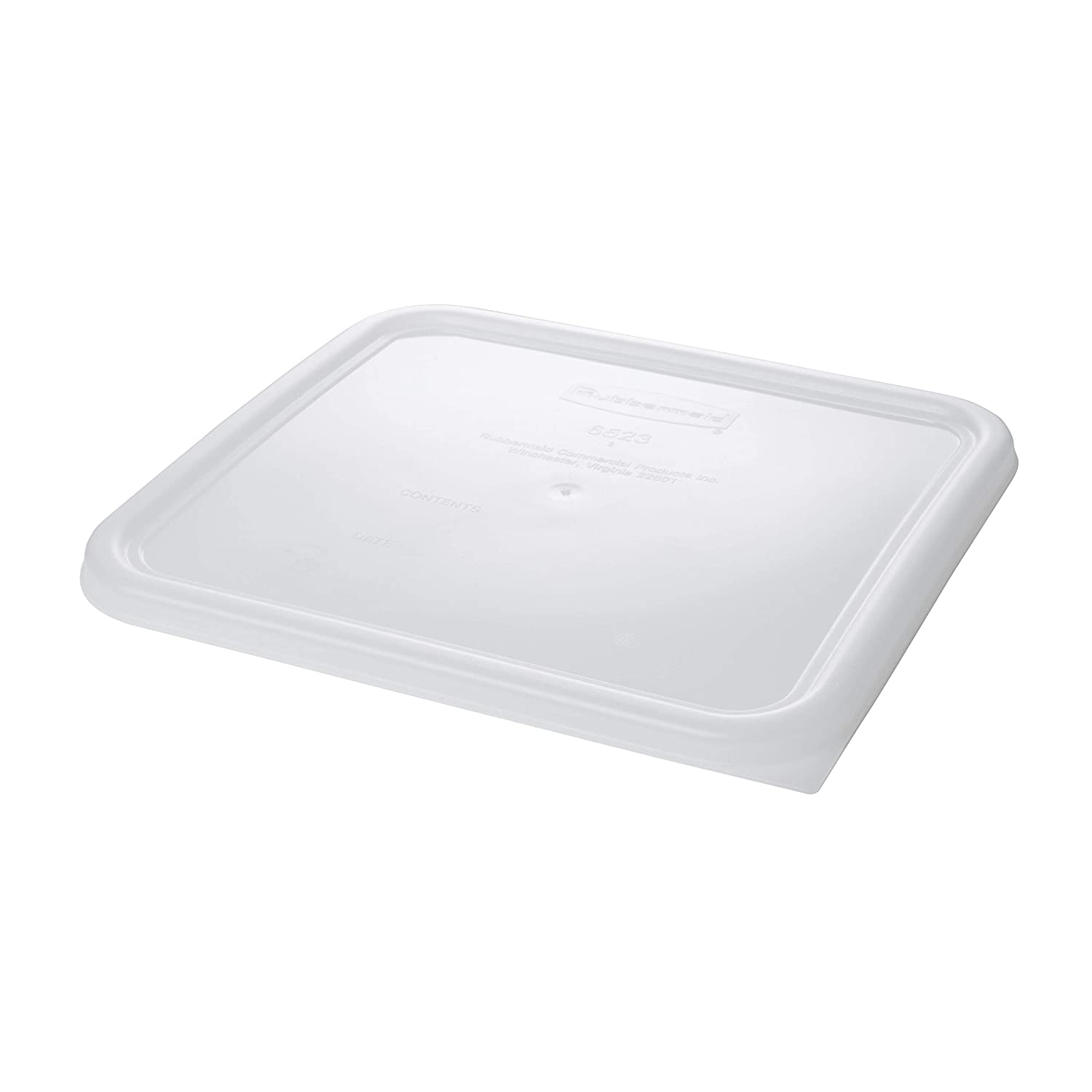 Rubbermaid Commercial Plastic Food Storage Container Lid, Square, White, 22 Quart, FG652300WHT