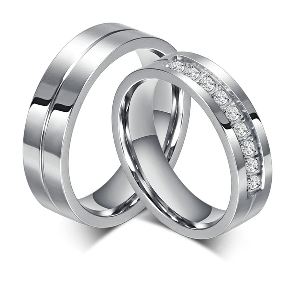 Bishilin Stainles Steel 6Mm Wedding and Engagement Rings Couples Set Women Size 5 /& Men Size 10
