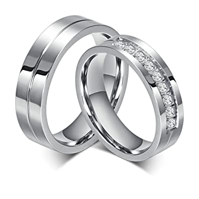 Favoloso Bishilin Gioielli Anello Acciaio 6Mm Silver Anelli Fidanzamento  AT18