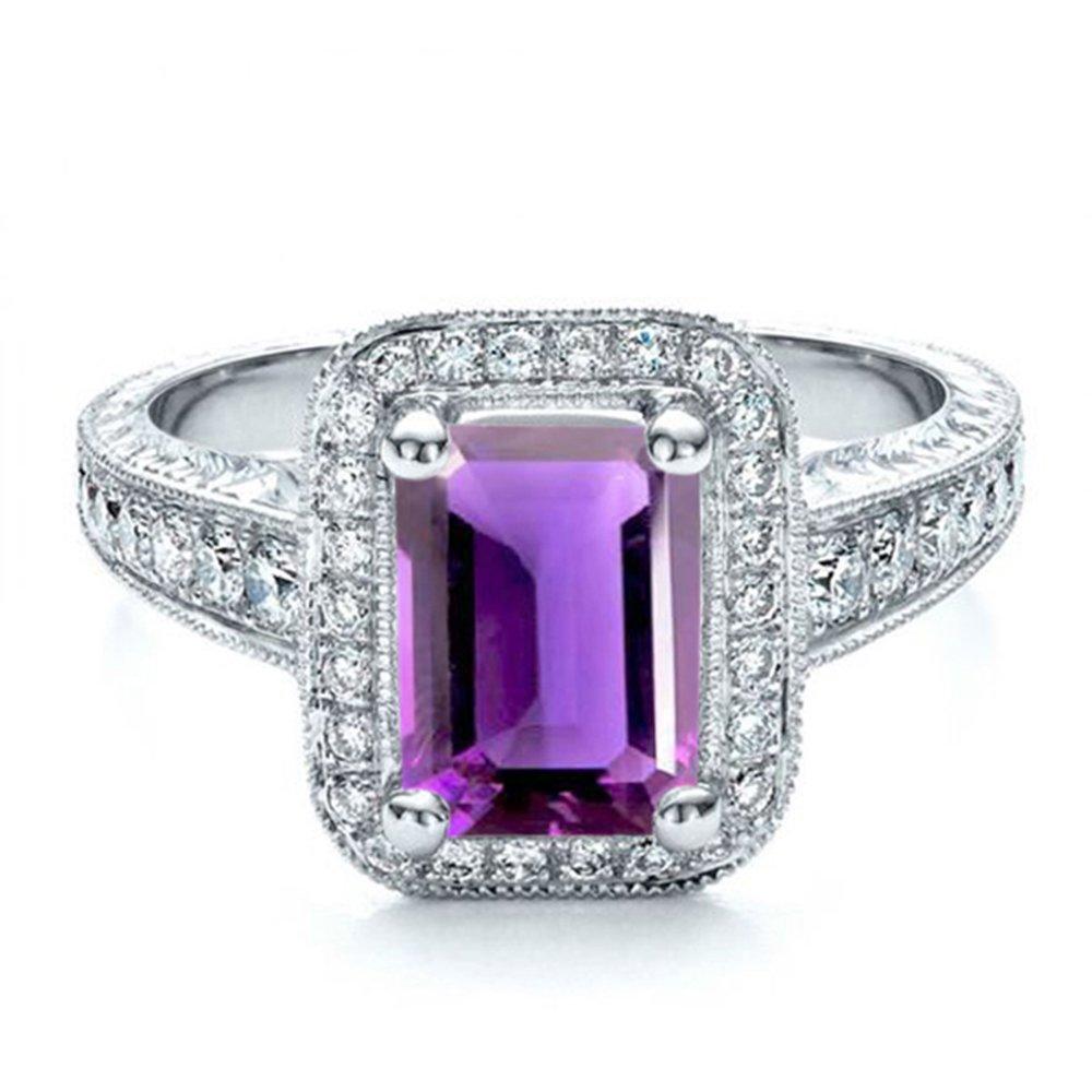 Vorra Fashion Weiß Platiniert Platiniert Platiniert Smaragdschliff sim-diamond Damen Jahrestag Ring Schmuck cda332