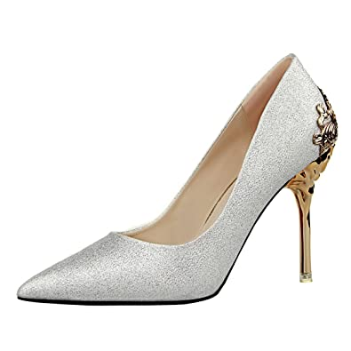 d75398bbea7 JNTworld New Women Metallic Wedding Shoes Evening Heels Pointed Toe Pumps