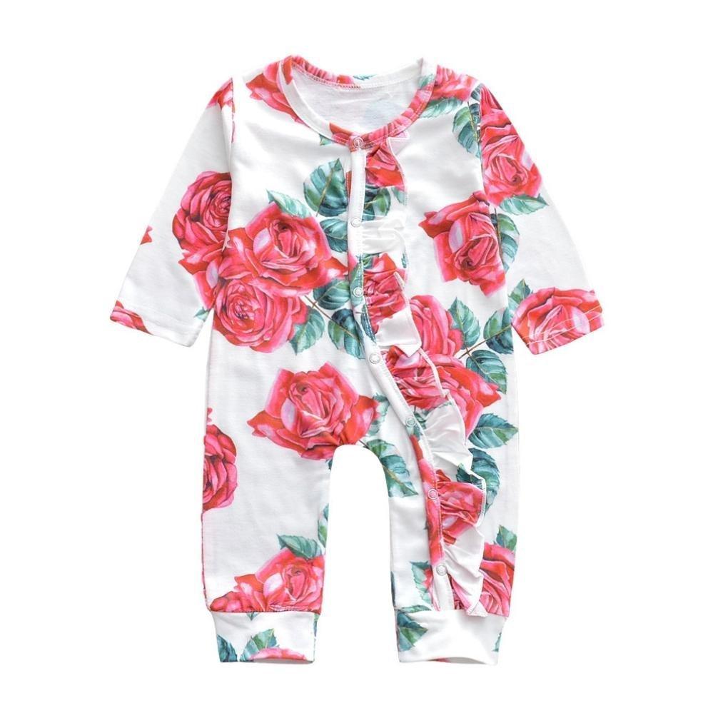 a75007b99f78 Amazon.com  Winsummer Newborn Baby Boy Girl Floral Print Long Sleeve ...