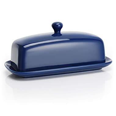 Sweese 3173 Porcelain Butter Dish with Lid, Perfect for East/West Butter, Navy