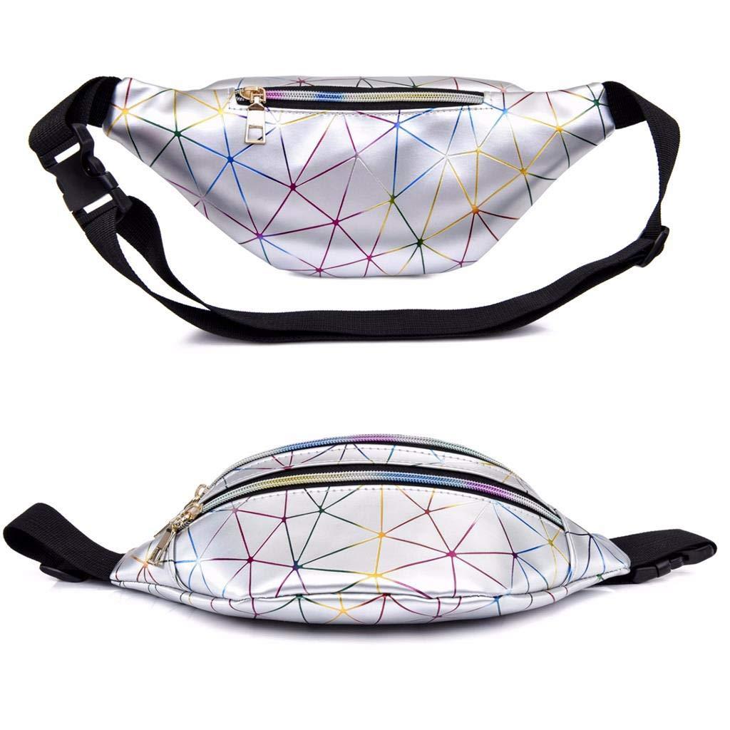 Bwiv Ri/ñoneras Mujeres de Moda Ri/ñoneras Deportivas Impermeables Plegable Brillante Bolsas de Cintura Running Paseo de Marcha PU Material Unisex