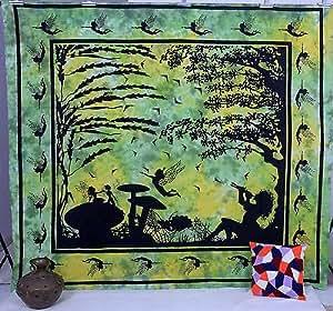 Green bohemian sheet queen bedspread tapestry for Fomic sheet wall hanging
