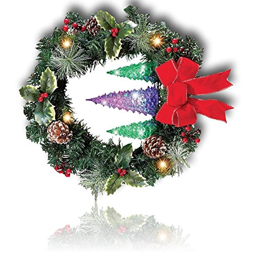 "Custom & Unique (18"" Inches) 1 Single Mid-Size Decorative Holiday Wreath for Door, Made of Resin w/ Artificial Festive Christmas Day Holly Berries & Pine Forest Style (Red, White, Green, & Brown) (Berries Clip Art Holly)"
