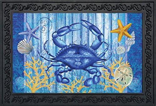[Blue Crab Welcome Summer Doormat Indoor Outdoor Nautical Marine Life 18