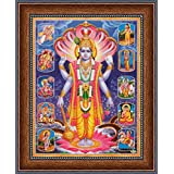 Avercart Lord Vishnu / Shree Vishnu / God Vishnu / Narayana Hari with 10 Avatara / 10 Forms of Vishnu Poster 21x28 cm with Photo Frame (8.5x11 inch framed)