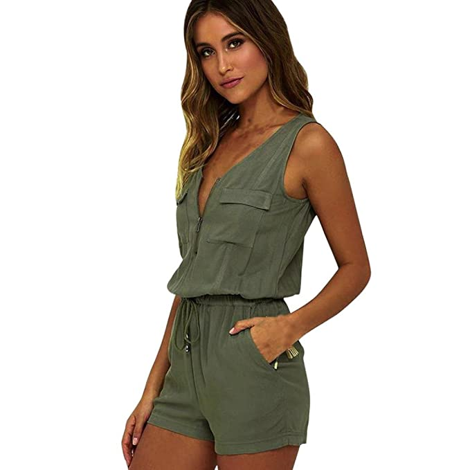 MOIKA Damen Jumpsuit, New Mode Frauen Overall Kleid ärmellose Hosen  Bodysuit Top Bluse Tunika Shirt  Amazon.de  Bekleidung 2ae0400b91