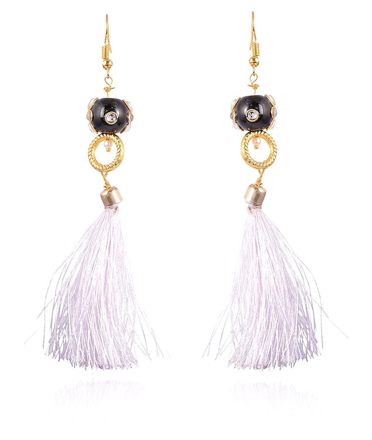 Subharpit White Color Pearl Golden Color Metal Non Precious Indian Ethnic Tratitional Tusel