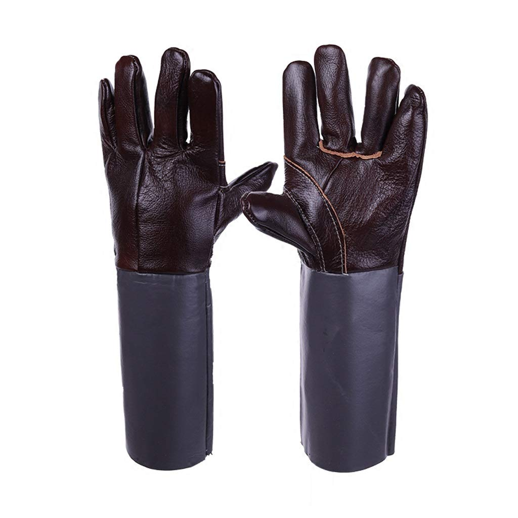 Yxsd Heavy Duty Heat Resistant & Flame Retardant Welding & BBQ Gloves, Premium Cowhide Leather, Long 15 Inch Forearm Protection Size Large