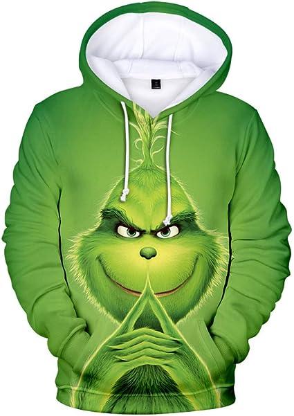 Felpa Grinch Unisex Felpe di Natale Grinch e Cucciolo 3D Carino Magliette a Maniche Lunghe Pullover Streetwear Autunno Inverno Moda Casuale Sciolto Maglione Lungo per Donna Uomo