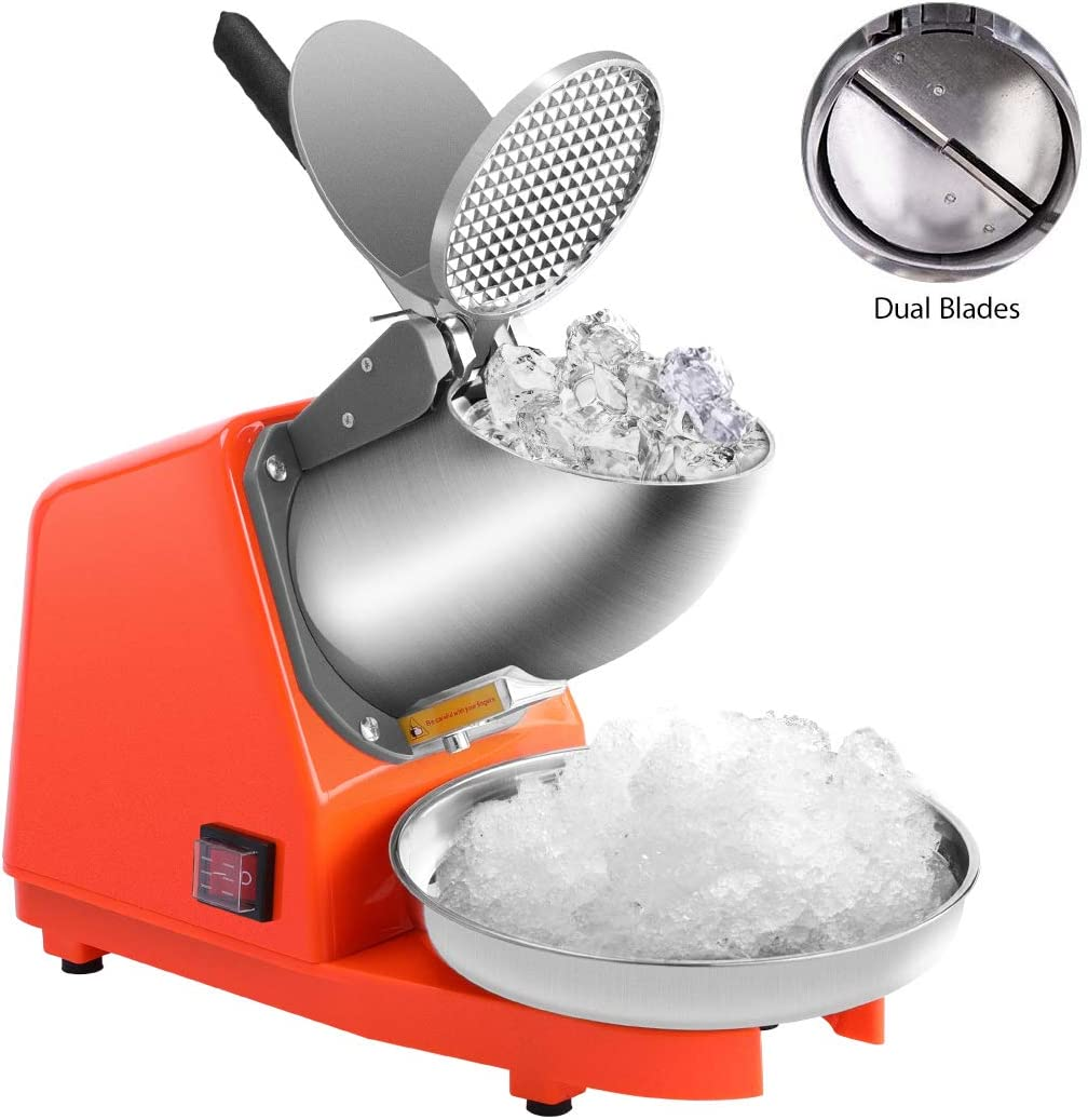 VIVOHOME Electric Dual Blades Ice Crusher Shaver Snow Cone Maker Machine Orange 143lbs/hr for Home and Commerical Use