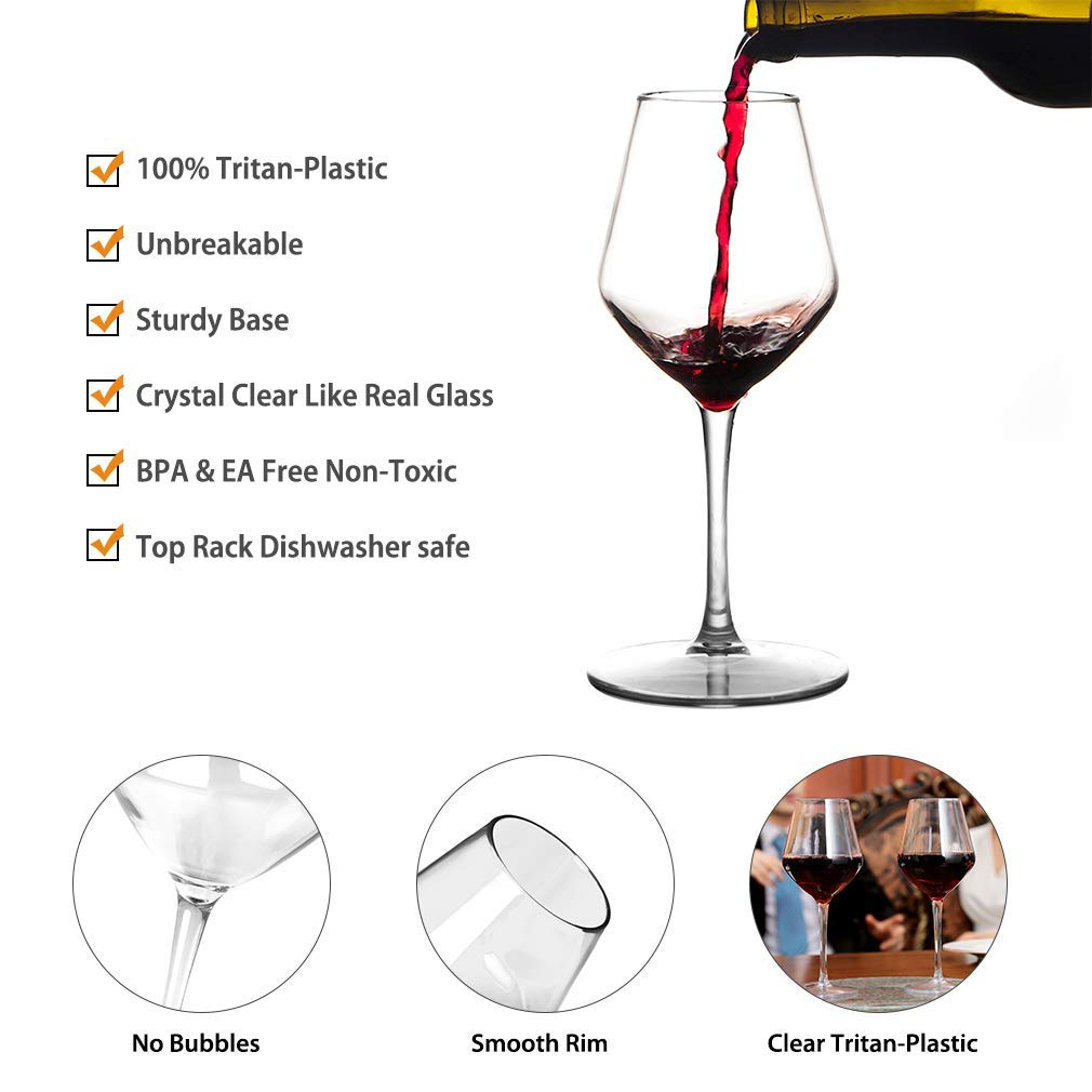 MICHLEY Unbreakable Stemmed Wine Glass 100% Tritan Plastic Dishwasher safe Glassware 15 oz, Set of 4 by MICHLEY (Image #4)