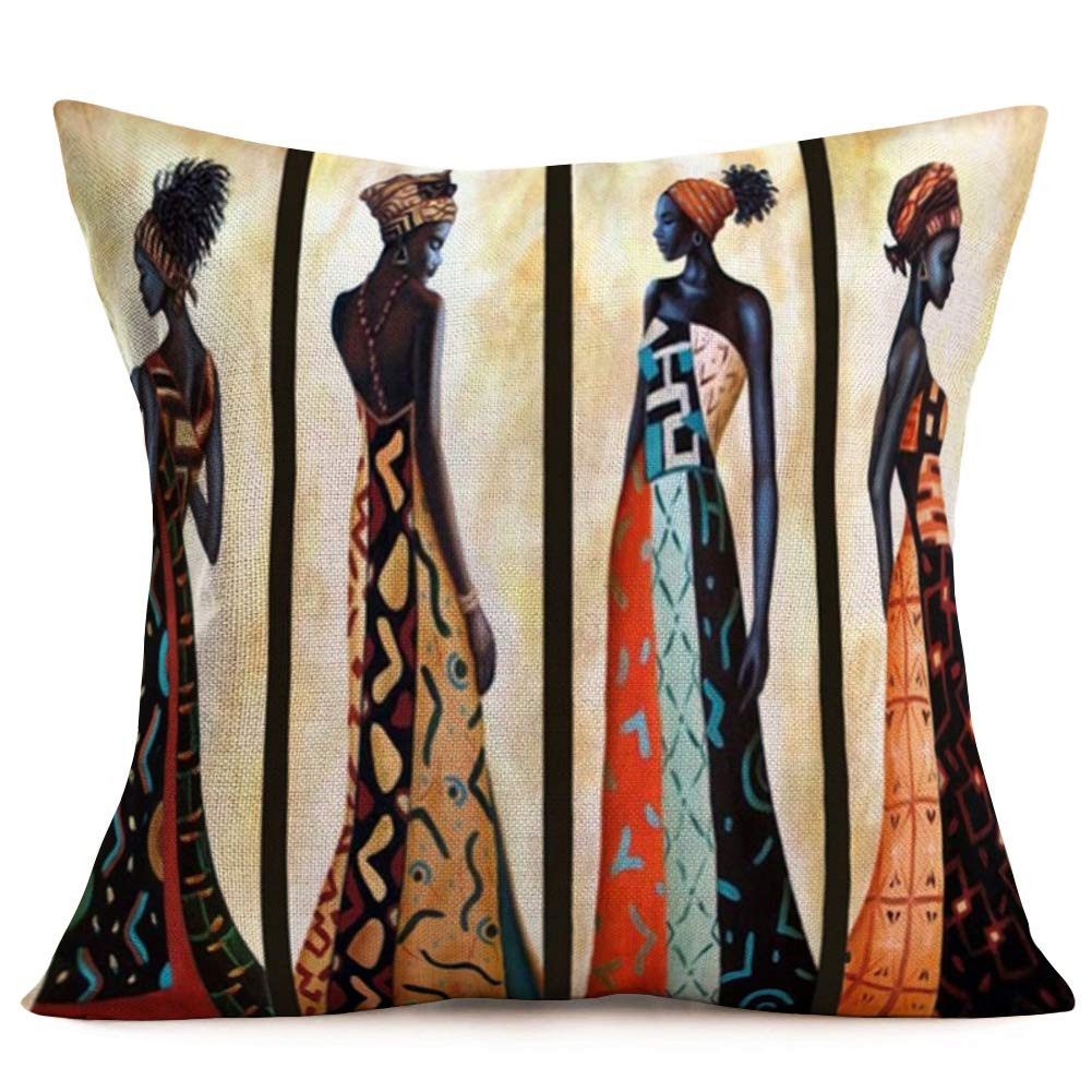 """Hopyeer Ethnic Style African BeautifulLady Decor Throw Pillow Covers Cases Decorative Africa Woman Print Outdoor Cushion Home Decoration 18""""x18"""" for Sofa Couch Living Room Bed (B-Lady)"""