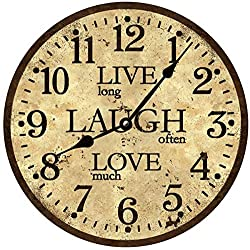 Live Laugh Love Wall Clock - Rustic Brown Clock
