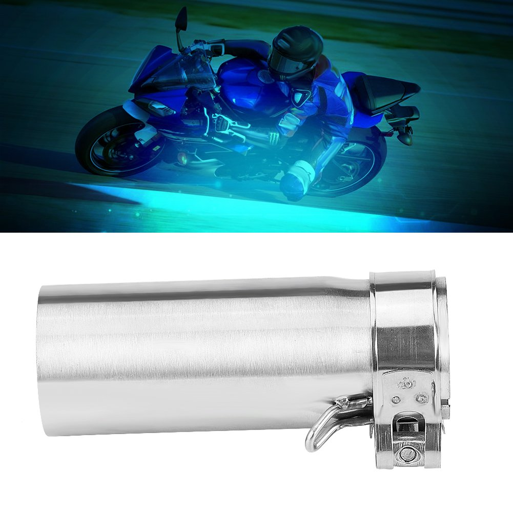 Qiilu 51mm Motorcycle Slip On Exhaust Middle Link Pipe Adapter Connector for Yamaha YZF-R6 2006-2014