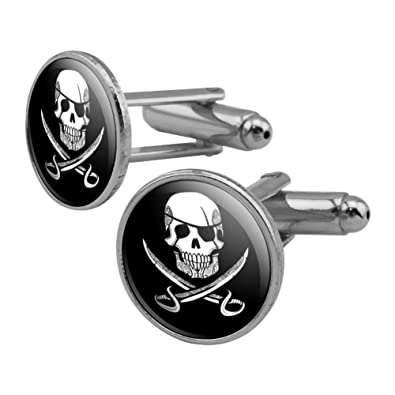 5f63827249de Amazon.com: GRAPHICS & MORE Pirate Skull Crossed Swords Tattoo Design Round  Cufflink Set Silver Color: Jewelry