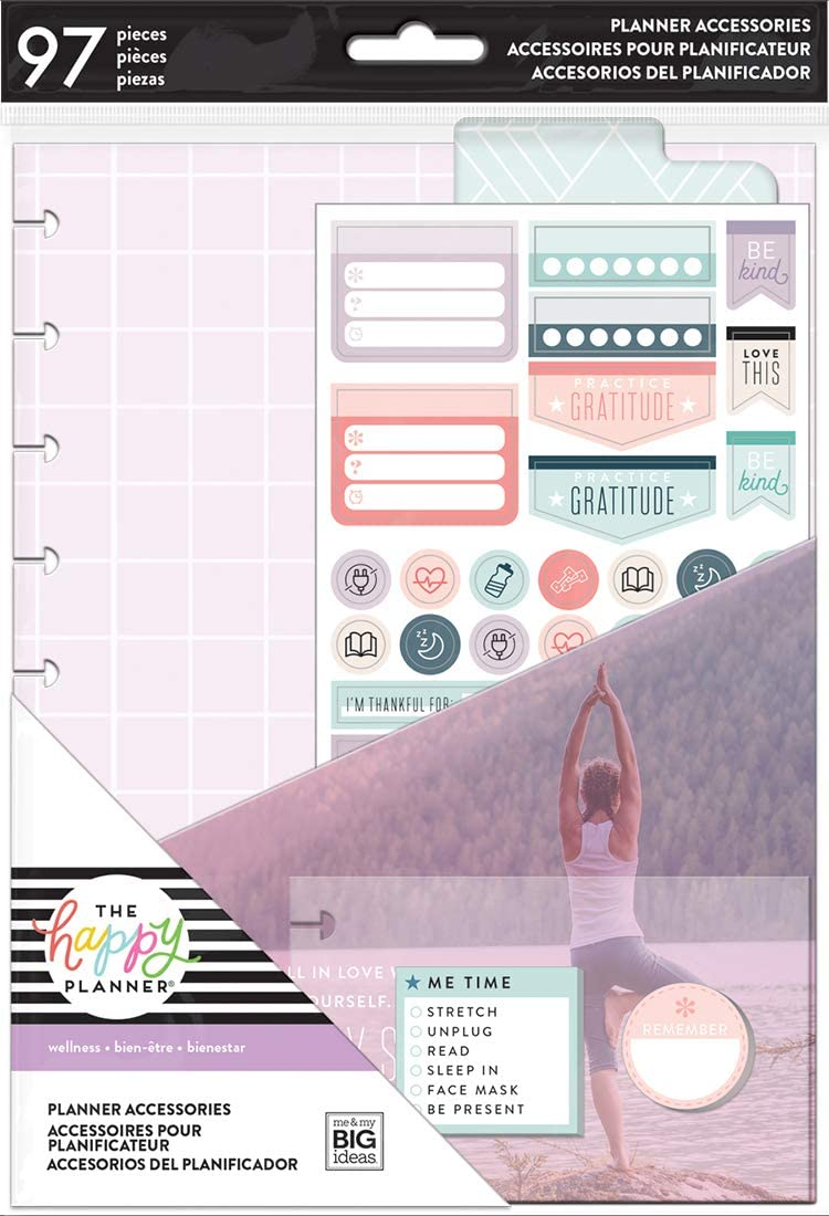 me & my BIG ideas PSAP-23 Happy Planner Medium Accessories 97/Pkg-Fitness/Wellness, Multi