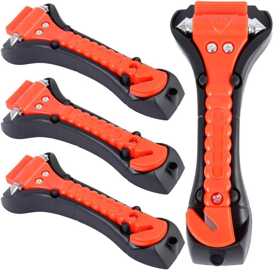 Juego de 4 martillos de Seguridad para Coche para Escape Rescate Ventana Dandelionsky Cortador de cintur/ón de Seguridad Antideslizante Martillo de Seguridad