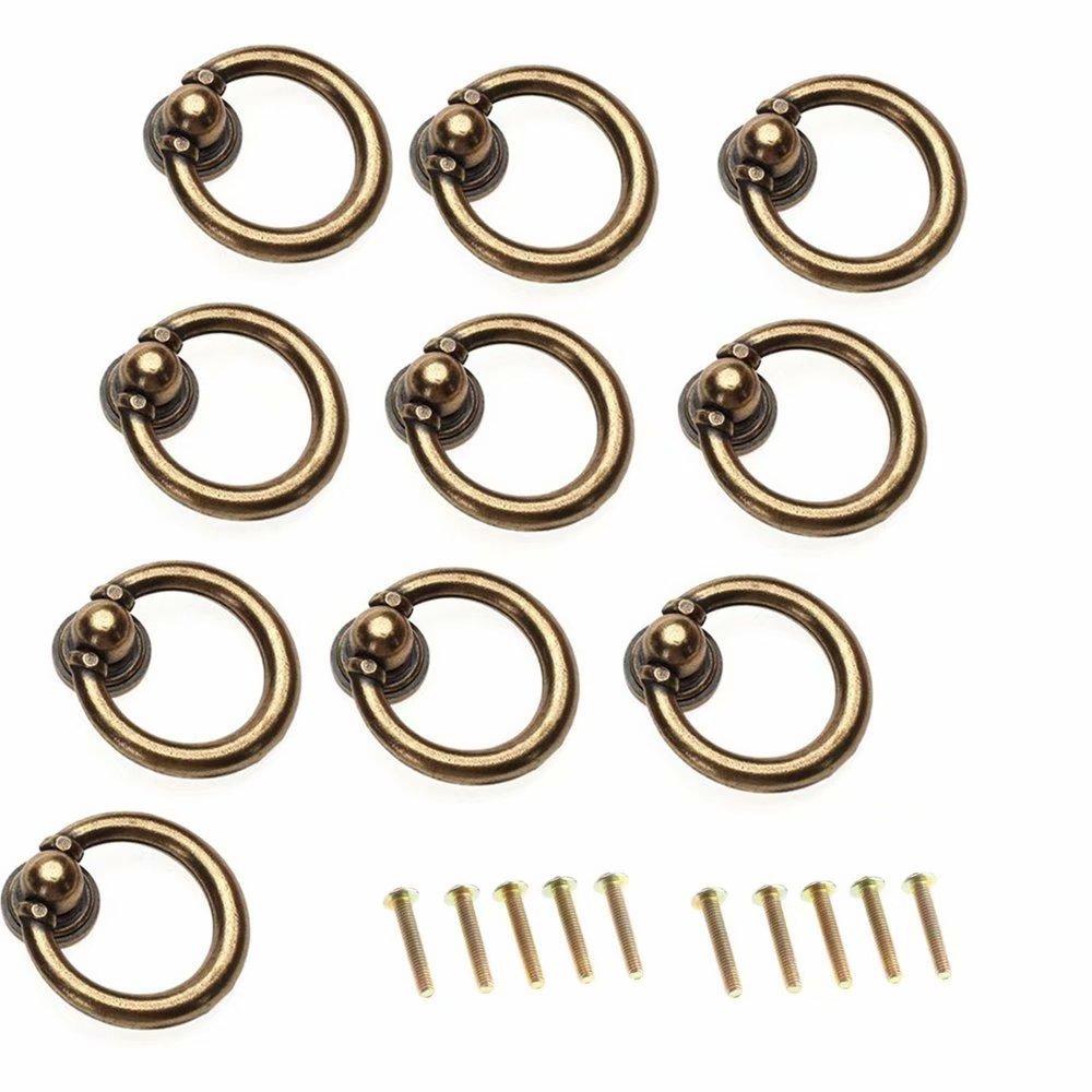 10 St/ück Antikes Messing Ring-Form Zink-Legierung M/öbelknauf// M/öbelknopf //T/ürknauf //f/ür K/üchenschr/änke Kleiderschrank Schublade Anrichte M/öbel Hardware Schr/änke FBSHOP TM