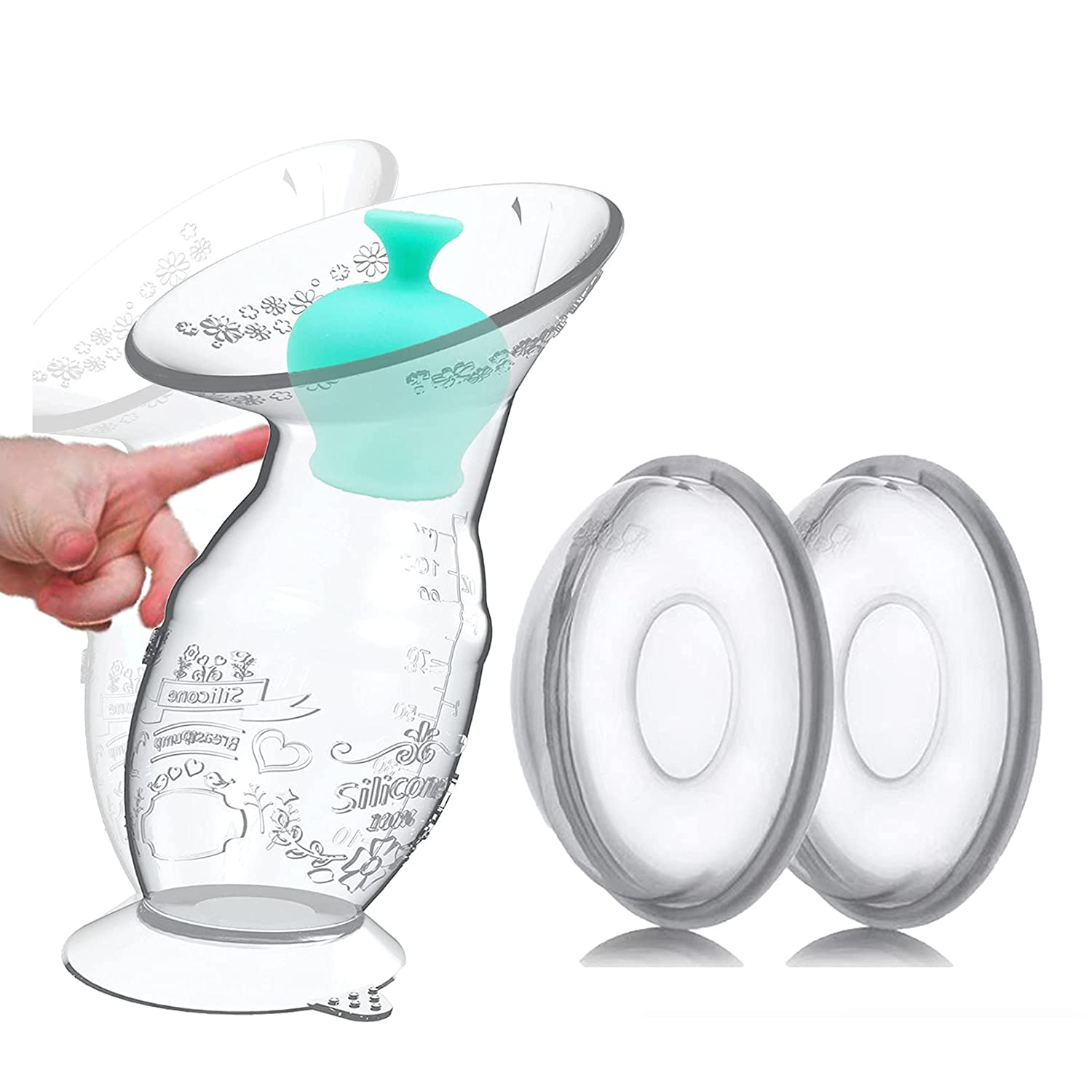 ChubbyZebra Silicone Breast Pump, Breast Shells, Nursing Cups, Breast Milk Collector, Breast Milk Catcher, Breastfeeding Collection Cups, Manual Breast Pump, Stopper, Spill Proof, Food Grade, BPA Free