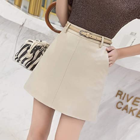 DAHDXD Nuevo Verano Otoño Moda Falda de Color sólido con cinturón ...