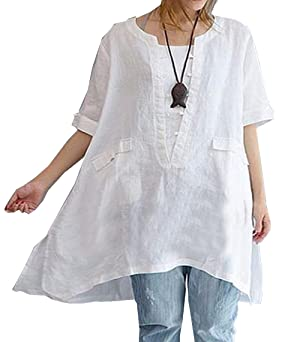 SWORLD Unisex White Loose V Neck Roll-up Sleeve T-shirts Oversized Blouse Dolman Top
