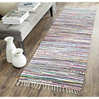 Safavieh Rag Rug Collection RAR121M Hand-Woven Grey and Multi Flatweave Cotton Runner (23 x 11)