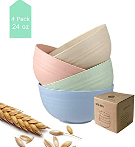 Unbreakable Cereal Bowls, 24 OZ Lightweight Wheat Straw Cereal Bowls, 4 PCS Eco-Friendly Soup Rice Cereal Pasta Salad Bowl, Dishwasher & Microwave Safe, BPA Free Healthy Kitchen Bowls for Kids & Adult