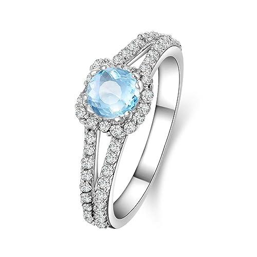 fc6cc8383c1f Blisfille Joyas Anillo Estrella Plata de Ley Anillo de Round Anillo Oro  Blanco Mujer Diamante Compromiso
