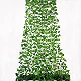 Rurality 96 Ft - 12 Artificial Ivy Plant Faux Ivy Vines Leaves for Wedding,Patio or Yard Decoration (Green 1)