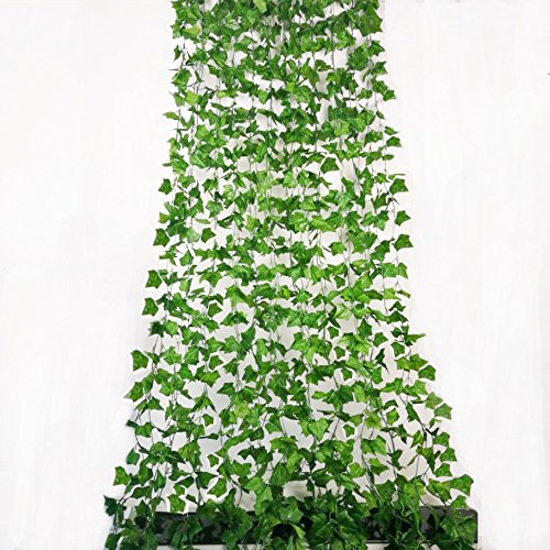 Rurality 96 Ft - 12 Artificial Ivy Plant Faux Ivy Vines Leaves for Wedding,Patio or Yard Decoration (Green 1) by Rurality