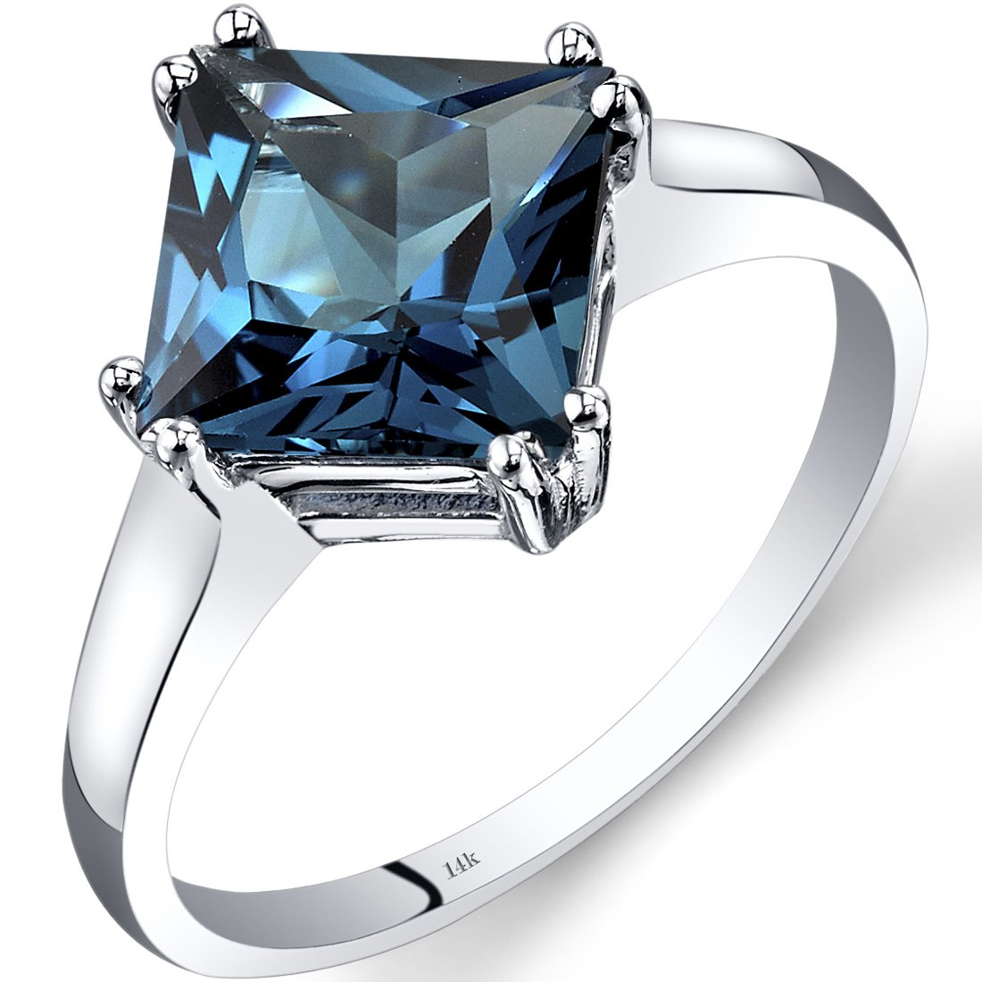 14K White Gold London Blue Topaz Princess Cut Ring 2.75 Carats Size 8
