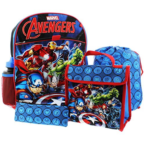 Marvel Boys' Avengers 5pc Set Backpack, (Marvels Kids)