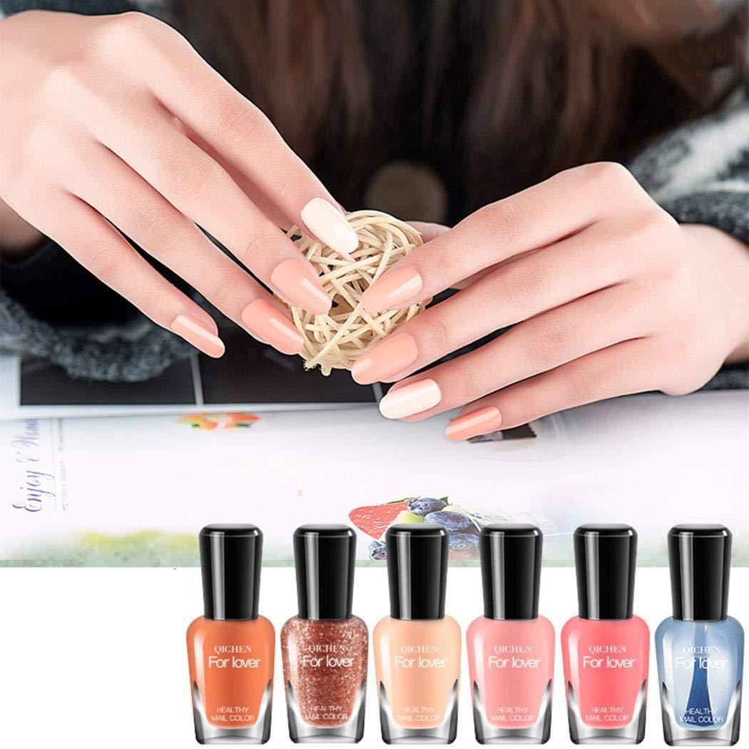 Vobome 6 colores - Moda impermeable herramienta de decoración de uñas de esmalte de uñas de larga duración Accesorios para decorar uñas