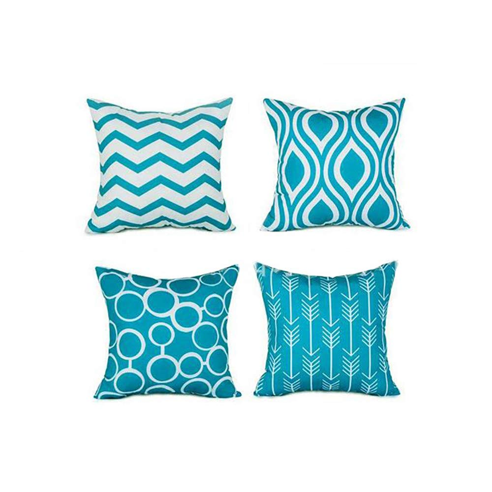 Set of 4 Throw Pillow Covers for Couch - Soft Cotton, Simple Geometric Pattern - Decorative Sofa Cushion Covers, Square Pillow-Cases for Living Room, Bedroom, Car(Navy,18 x 18 Inch) by Qiujold Pillow Cover