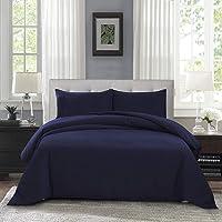 OAITE 3-Piece Soft Microfiber Duvet Cover Set with 2 Pillow Shams (Queen Size) (Deep Blue)
