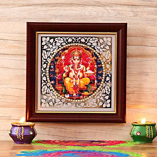 Ganesha Wall Frame (Lord Ganesha Picture in Brown Frame)