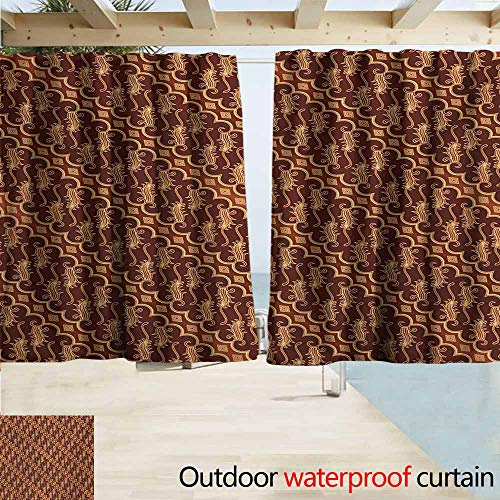 - AndyTours Outdoor Waterproof Curtains,Brown Batik Parang Barong Diagonal Pattern Indonesian Culture and Art Design,Rod Pocket Energy Efficient Thermal Insulated,W63x45L Inches,Brown Apricot Caramel