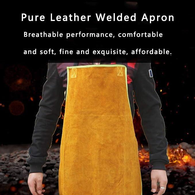 Babero del delantal de soldadura de cuero, Delantal de trabajo de soldador resistente a las llamas para trabajo pesado, Ropa de protección unisex de taller ...