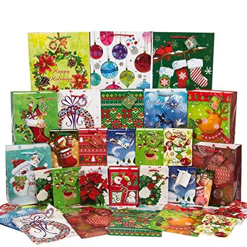 Fortune Bags (36ct) Holiday Gift Bags Handles & Tags Bulk Assorted Christmas Small Medium (Christmas Gift Bags Bulk)