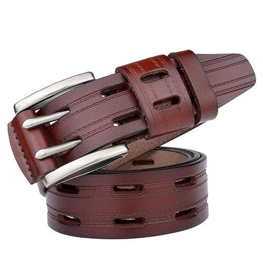 JBHURF Cinturón de Cuero Genuino para Hombres Doble Hebilla ...