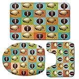 3 Piece Bath Mat Rug Set,Football,Bathroom Non-Slip Floor Mat,Colorful-Squares-Mosaic-Pattern-with-Protective-Helmets-and-Balls-College-Activity-Decorative,Pedestal Rug + Lid Toilet Cover + Bath Mat,M