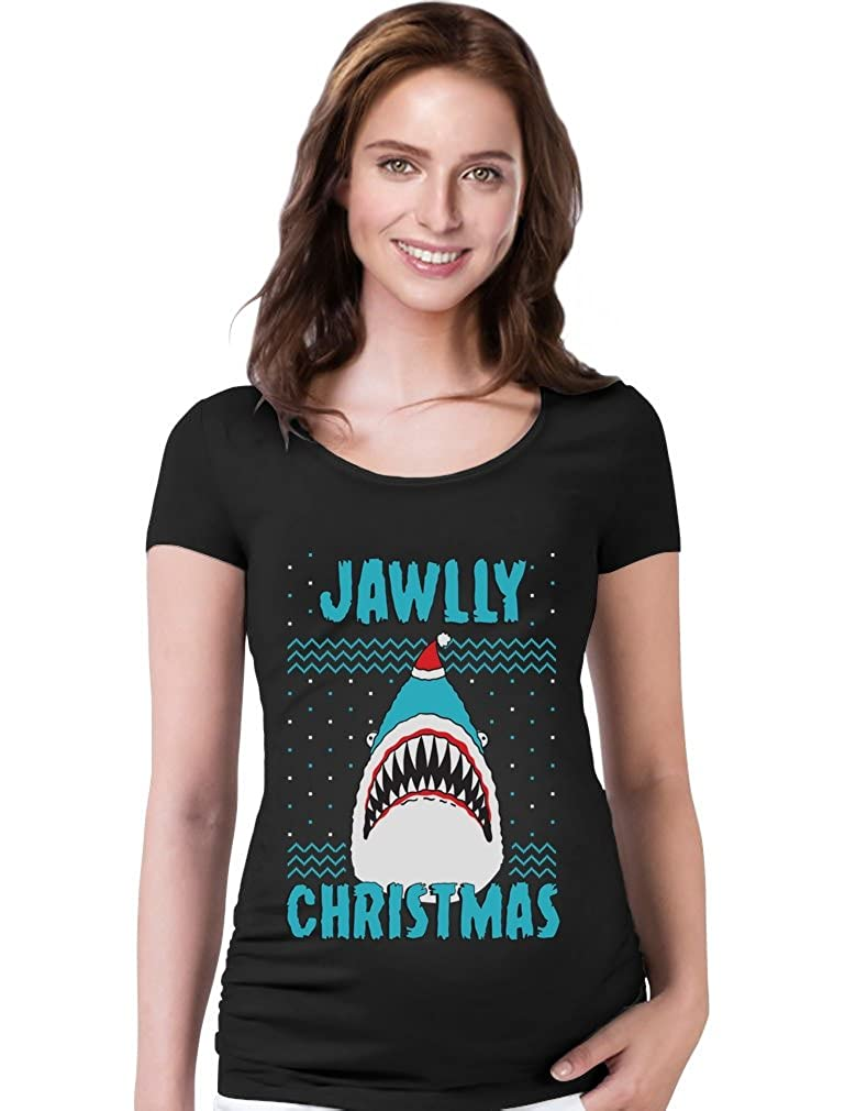 TeeStars - Jawlly Christmas Ugly Xmas Sweater Party Shark Maternity Shirt GMPlhaZgWu