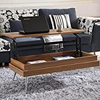 MIX Laminate Wood Chrome Legs Walnut Lift-Top Rectangular Coffee Table with Hidden Storage