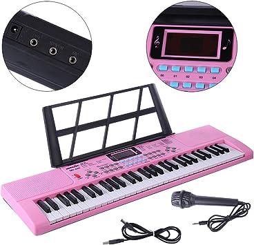 YAKOK Piano Infantil, 61 Teclas Electrico Piano Bebe Teclado con Microfono Juguetes Musicales para Niños y Niña 3-12 años, USB/Baterias (Rosa)