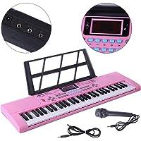 Yvsoo Teclado Electrónico Infantil, 61 Teclas Teclado de Piano con Micrófono Instrumentos Musicales Infantiles Música Regalo Educativo para Niños - 3768 (Rosa)